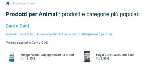 Trovaprezzi ricerche pet food